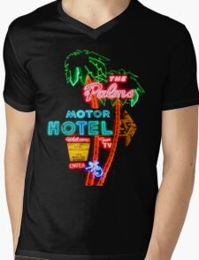 Palms Hotel Motel Neon Sign Retro Mens V-Neck T-Shirt