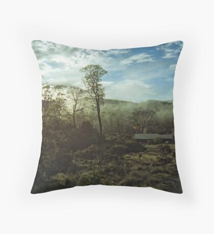 Misty Morning Cradle Mountain Throw Pillow