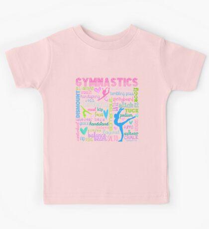 Gymnastics Typography in Pastels Kids Tee