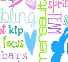 Gymnastics Typography in Pastels Sticker