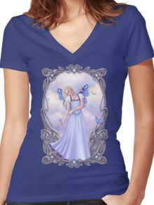 Opal Birthstone Fairy Women's Fitted V-Neck T-Shirt