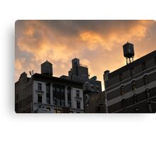 A buildings in New York City and old water towers.  Canvas Print