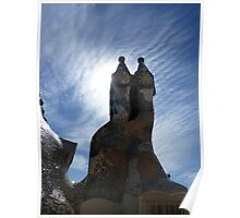 Blue Sky day on Gaudi's rooftop Poster