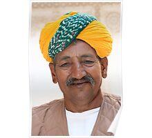 Turban of an old man in Jaipur Rajastan Poster