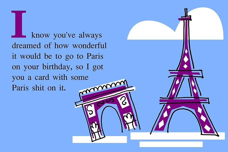 Birthday Card Paris Greeting Cards By DiabolickalFUN