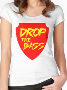 Drop The Bass Shield (red) Women's Fitted Scoop T-Shirt