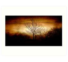 East Devon Morn with Moon Layer Burn Art Print