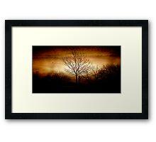 East Devon Morn with Moon Layer Burn Framed Print