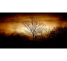 East Devon Morn with Moon Layer Burn Photographic Print
