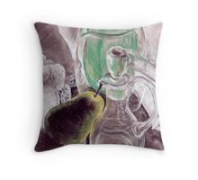 Pear and Decanter Throw Pillow