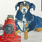 Mafia dog guarding his fire hydrant by Ruca