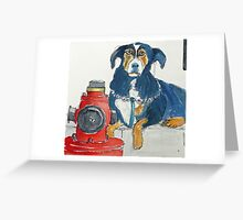 Mafia dog guarding his fire hydrant Greeting Card