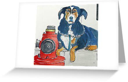 Mafia dog guarding his fire hydrant by Ruca