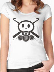 Crochet hooks skull and yarn t-shirt Women's Fitted Scoop T-Shirt