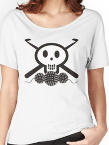 Crochet hooks skull and yarn t-shirt Women's Relaxed Fit T-Shirt