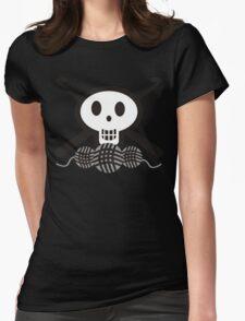 Crochet hooks skull and yarn t-shirt Womens Fitted T-Shirt