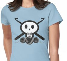 Crochet hooks skull and yarn t-shirt Womens Fitted T-Shirt