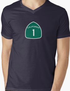 California Highway 1 T-Shirt - State Route One Road Sign Sticker PCH Mens V-Neck T-Shirt