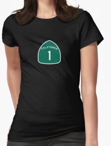 California Highway 1 T-Shirt - State Route One Road Sign Sticker PCH Womens Fitted T-Shirt