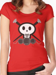 Knitting needles skull and yarn t-shirt Women's Fitted Scoop T-Shirt