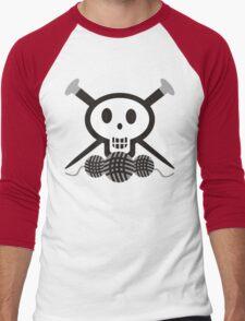Knitting needles skull and yarn t-shirt Men's Baseball ¾ T-Shirt