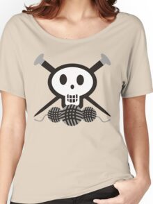 Knitting needles skull and yarn t-shirt Women's Relaxed Fit T-Shirt