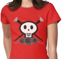Knitting needles skull and yarn t-shirt Womens Fitted T-Shirt
