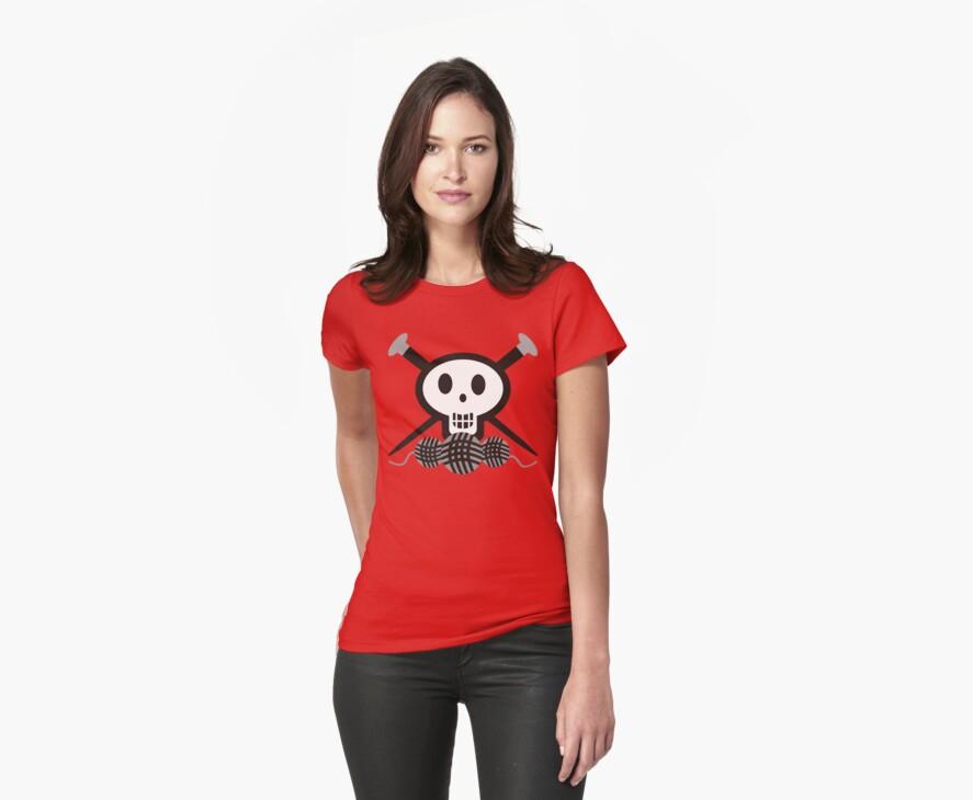 Knitting needles skull and yarn t-shirt by BigMRanch