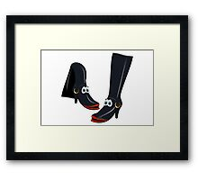 Black Boots Cartoon Framed Print