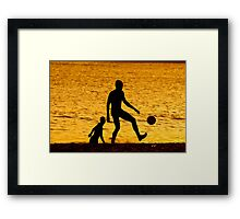 Golden Soccer Friends Framed Print