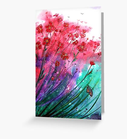 Flowers - Dancing Poppies Greeting Card