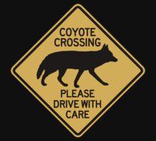 Coyote Crossing, Traffic Warning Sign, USA Kids Tee