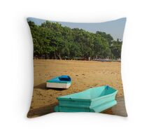 colorful boats at sanur Throw Pillow