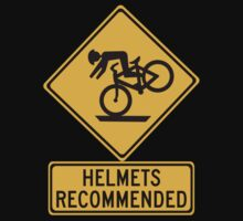 Helmets Recommended (II), Traffic Warning Sign, USA One Piece - Short Sleeve