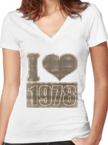 I heart 1978 Vintage T-Shirt Women's Fitted V-Neck T-Shirt