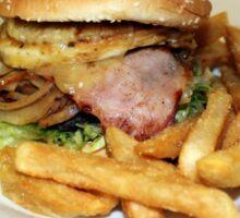 Hamburger and chips. Sticker