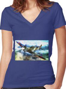 "WW2 ""Supermarine Spitfire"" 1936 Women's Fitted V-Neck T-Shirt"