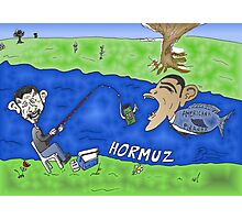Binary Options Caricature - President Obama, President Ahmedinajad and the Strait of Hormuz Photographic Print