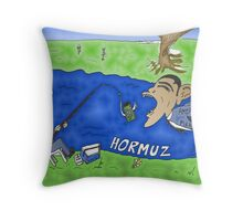 Binary Options Caricature - President Obama, President Ahmedinajad and the Strait of Hormuz Throw Pillow