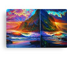 Island Sunset Diptych Canvas Print