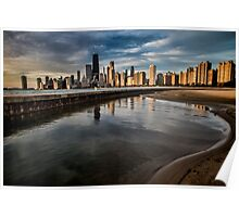 Chicago skyline at sunrise with a man for scale Poster