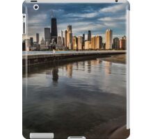 Chicago skyline at sunrise with a man for scale iPad Case/Skin