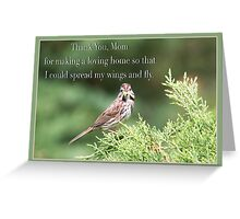 Thank You , Mom Sparrow Greeting Card Greeting Card