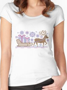 Knitted pattern reindeer  Women's Fitted Scoop T-Shirt