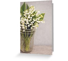 Lily of the Valley in a jar. Greeting Card