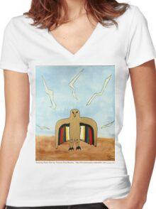 Dancing Robot Bird T Shirt Women's Fitted V-Neck T-Shirt