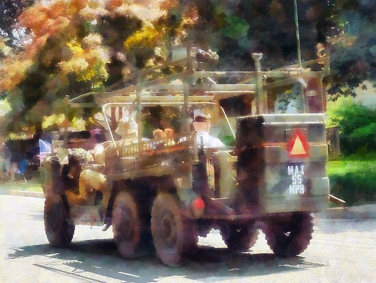 Army Jeep in Parade by Susan Savad