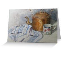 Old Kettle and Cup Still life Greeting Card