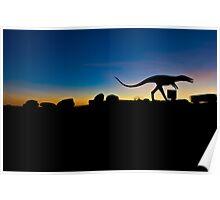 Dinosaur stalking cars on I-40 Poster