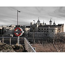 Tower of London with Tube sign Photographic Print